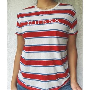 GUESS oversized striped shirt sleeve top